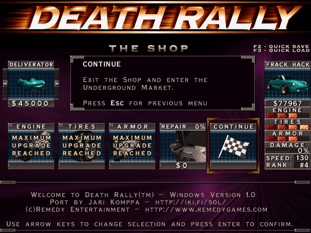 The shop in Death Rally