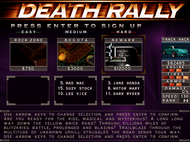 The signup screen in Death Rally
