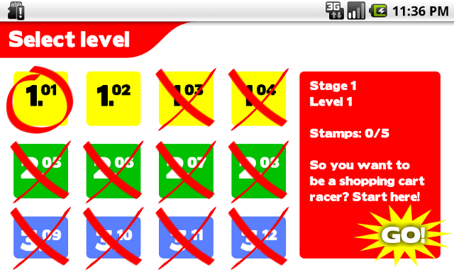 Screen shot of level selection screen